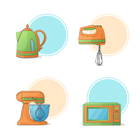 kitchen utensil: A set of electrical kitchen appliances. Kitchen appliances in cartoon style. Icons, stickers, labels with kitchen appliances. Kitchen microwave color. Kitchen hand mixer. Kitchen ladle. Vector illustration Illustration