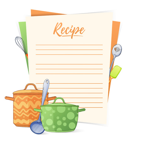 Banner, sticker, a note for the recipe. Making the recipe for cooking. Kitchen pots and kitchen tools for the design of brochures, flyers, web banners. Recipe box. Recipe cards. Recipe book. Vector illustration