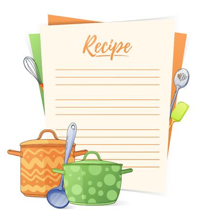 Bannière, autocollant, une note pour la recette. Faire la recette pour la cuisson. Casseroles et ustensiles de cuisine pour la conception de brochures, de dépliants et de bannières Web. Boîte à recettes. Cartes de recettes. Livre de recettes. Illustration vectorielle