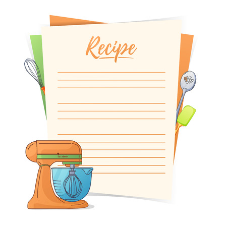 Banner, sticker, a note for the recipe. Making the recipe for cooking. Kitchen mixer and kitchen tools for the design of brochures, flyers, web banners. Recipe box. Recipe cards. Recipe book. Vector illustration Vettoriali