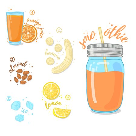 frash: Citrus Smoothies of orange, nuts and a banana for a healthy diet. Cocktail in a glass jar. Cocktail for energy and diets. Recipe vegetarian smoothies for health. Vector illustration