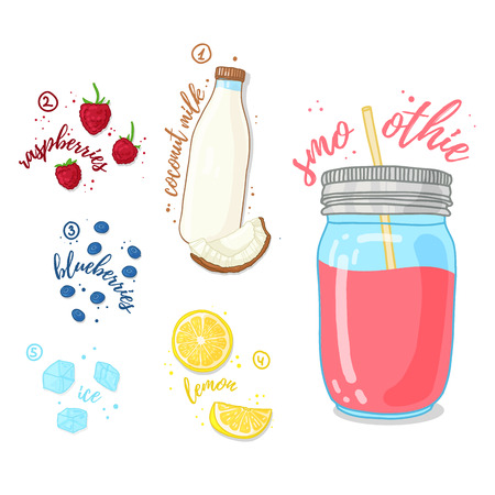 fruit drink: Smoothies wild berry and coconut milk. Milk smoothie with raspberries, blueberries and coconut milk. Recipe berry, fresh smoothie in a glass jar. Berry cocktail for a healthy vegetarian diet. Vector illustration Illustration