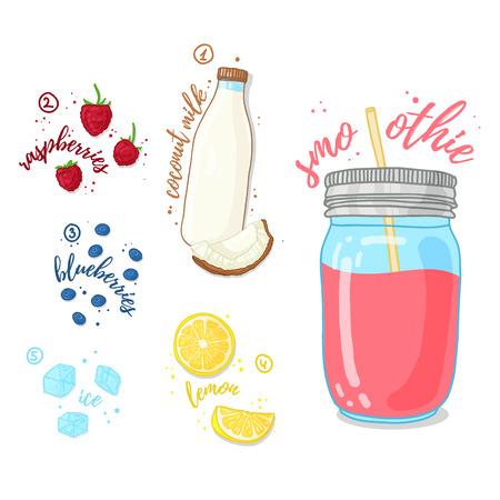 Smoothies wilde bessen en kokosmelk. Melk smoothie met frambozen, bosbessen en kokosmelk. Recept bessen, verse smoothie in een glazen pot. Berry cocktail voor een gezond vegetarisch dieet. vector illustratie