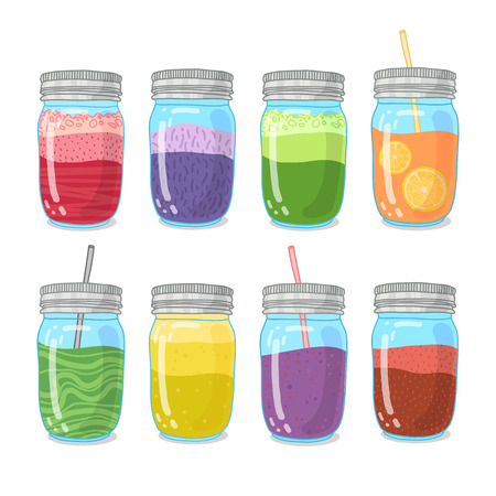 detox: Set smoothies with different Ingredients. Smoothie bar. The collection of health drinks. Vegetarian smoothie in glass jars. Drinks for detox and healthy diet