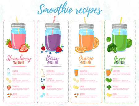 Template design banners, brochures, menus, flyers smoothie recipes. Design menu with recipes and ingredients for a smoothie. Recipes of cocktails made from fruits, vegetables and herbs. Vector illustration Ilustracja