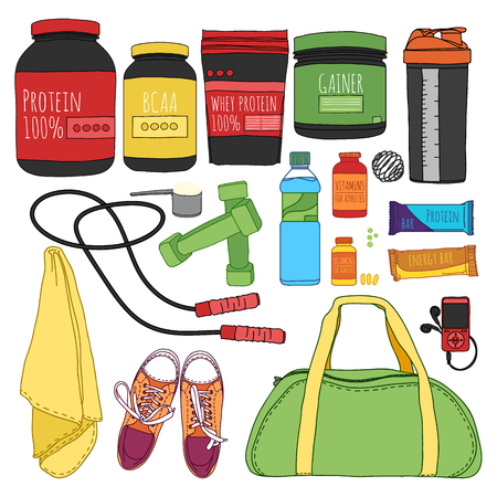 Fitness and diet set. Sports nutrition set. Bags for training, trainers, dumbbells and supplements for athletes. Things for the gym. Vector illustration Ilustracja