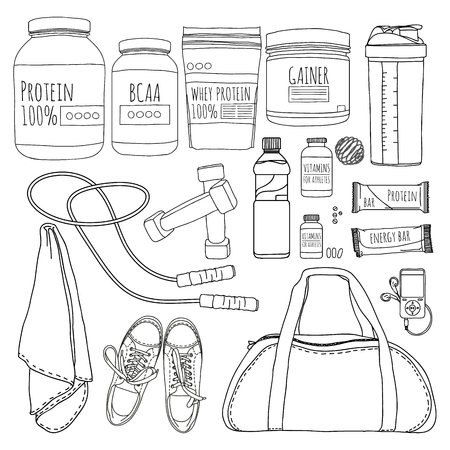 proteins: A set of objects of sports nutrition. Bags for training, trainers, dumbbells and supplements for athletes. Line style. Vector illustration Illustration