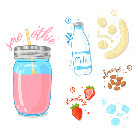 almonds: Pink cocktail of fruits, berries and nuts. Milk smoothie with strawberries, almonds and banana. The recipe for strawberry smoothie in a glass jar. Vector illustration