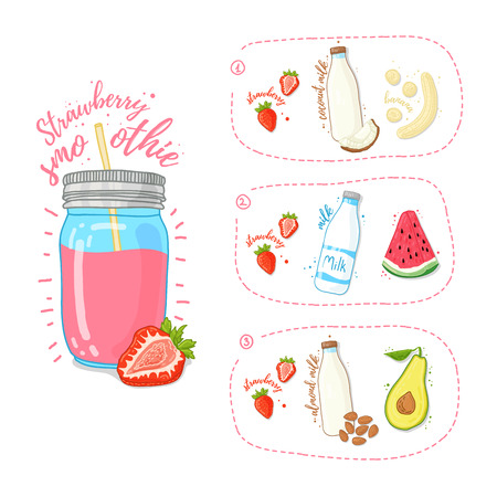 Template Design strawberry smoothie recipe. Set recipe for strawberry smoothie with fruit, nuts, coconut milk and cows milk. Summer Strawberry smoothie in a glass jar. Doodle style. Vector. Illustration