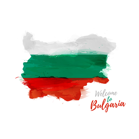 sofia: Symbol, poster, banner Bulgaria. Map of Bulgaria with the decoration of the national flag. Style watercolor drawing. Illustration