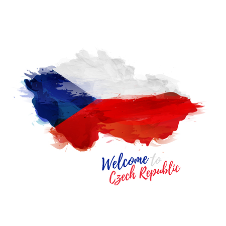 symbol, poster, banner Czech Republic. Map of Czech Republic with the decoration of the national flag. Style watercolor drawing. 矢量图像