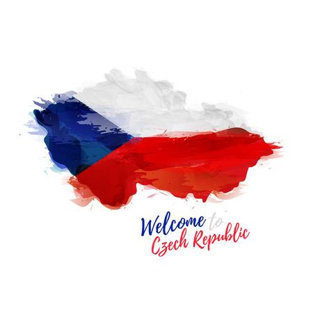 symbole, affiche, bannière République tchèque. Carte de la République tchèque avec la décoration du drapeau national. Style de dessin à l'aquarelle.
