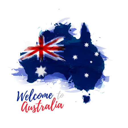 Symbol, poster, banner Australia. Map of Australia with the decoration of the national flag. Style watercolor drawing. Australia map with national flag. Ilustracja