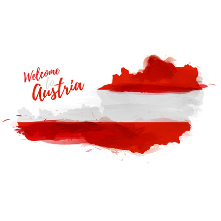 austria map: Symbol, poster, banner Austria. Map of Austria with the decoration of the national flag. Style watercolor drawing.