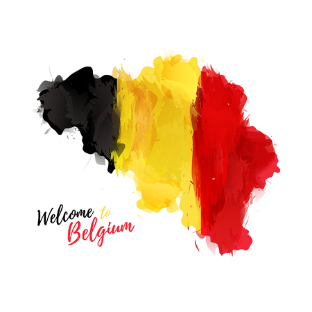 Symbol, poster, banner Belgium. Map of Belgium with the decoration of the national flag. Watercolor style drawing.