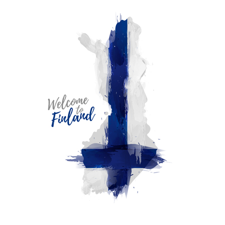 finnish: Symbol, poster, banner Finland. Map of Finland with the decoration of the national flag. The Finnish national flag in watercolor style drawing. Illustration