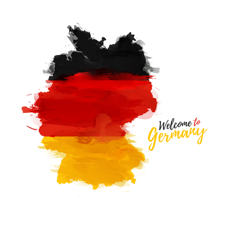 Symbol, poster, banner Germany. Map of Germany with the decoration of the national flag. Style watercolor drawing. Germany map with national flag. Stock Illustratie