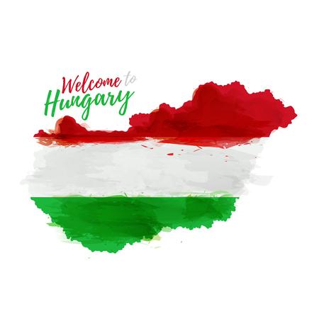 シンボル、ポスター、バナー ハンガリー。国旗の飾りのハンガリーの地図。スタイル水彩図面。ハンガリーの国旗と地図。  イラスト・ベクター素材