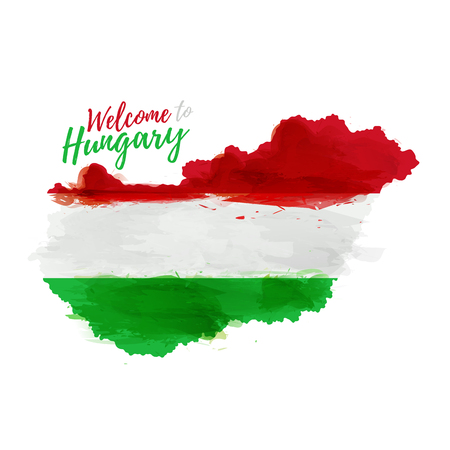 Symbol, poster, banner Hungary. Map of Hungary with the decoration of the national flag. Style watercolor drawing. Hungary map with national flag. Фото со стока - 59859043