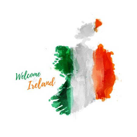 기호, 포스터, 배너 아일랜드. 아일랜드의지도와 국기의지도. 스타일 수채화 드로잉입니다. 국기와 함께 아일랜드지도입니다. 일러스트