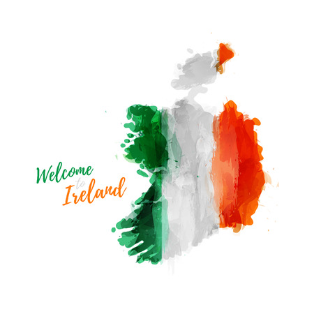 republic of ireland: Symbol, poster, banner Ireland. Map of Ireland with the decoration of the national flag. Style watercolor drawing. Ireland map with national flag. Illustration