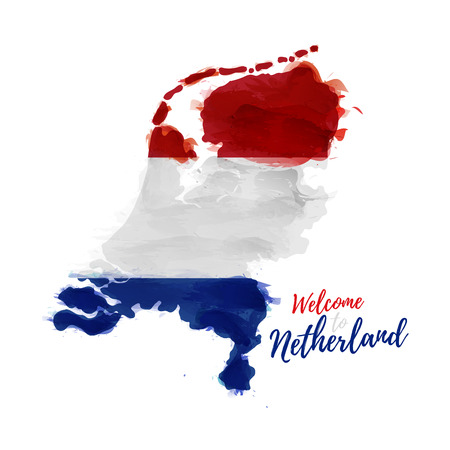 Symbol, poster, banner Netherlands. Map of Holland with the decoration of the national flag. Style watercolor drawing.