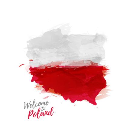 Símbolo de impresión de carteles, bandera de Polonia. Mapa de Polonia con la decoración de la bandera nacional. La bandera nacional de Polonia en estilo del dibujo de la acuarela.