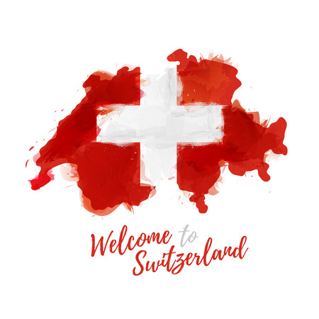 Symbol, poster, banner Switzerland. Map of Switzerland with the decoration of the national flag. Watercolor style drawing.