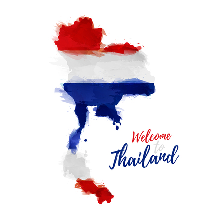 Symbol, poster, banner Thailand. Map of Thailand with the decoration of the national flag. Style watercolor drawing. Thailand map with national flag.