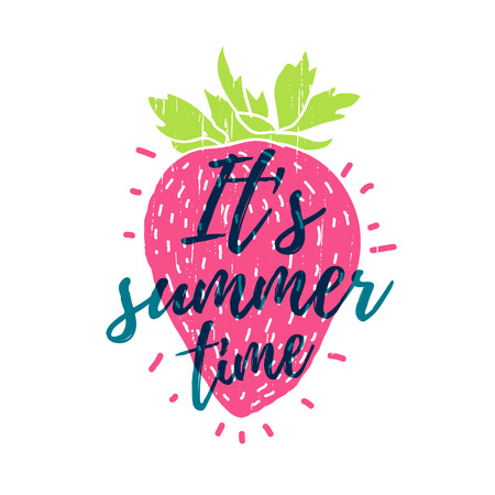shilouette: Its summer time. Print T-shirt with the text, and the decor of strawberry.