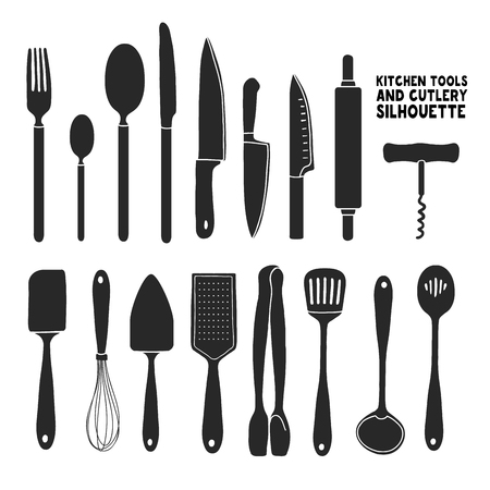 cutleries: Set of silhouettes cutlery. Spoon, fork, blender, knives. Cutlery for cooking. A set of cutlery for serving. Black and white kitchen cutlery silhouettes.