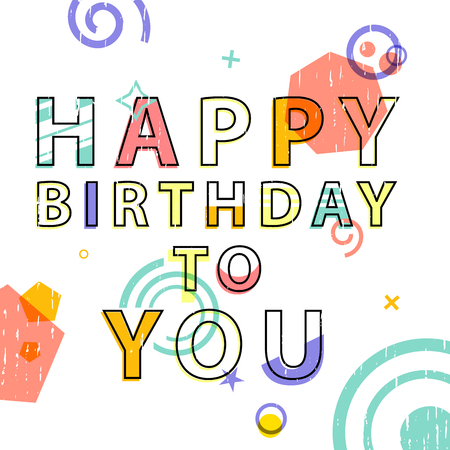 techology: Greeting card with text Happy Birthday. Card in modern style, with geometric decor. Banner for congratulations.