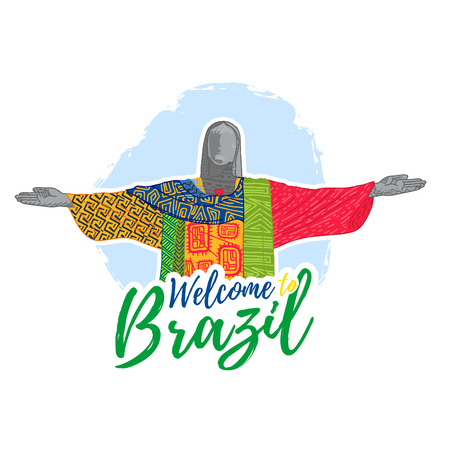corcovado: Banner, poster, sign, invitation Welcome to Brazil.