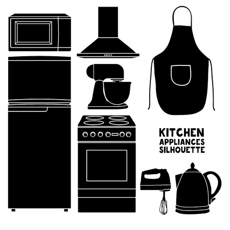 kitchen device: Set of kitchen device silhouettes. Kitchen household silhouettes furniture in a cartoon style. Silhouette of kitchen tools and accessories. Appliances for kitchen interior.