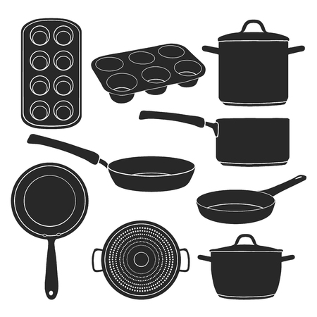 pots: A set of silhouettes of kitchen utensils. Black silhouettes of pots, pans, baking molds. Utensils for cooking. Baking tools. Silhouettes kitchenware. Vector illustration