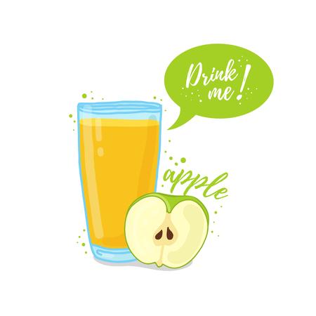 Design Template , poster, icons apple smoothies. Illustration of apple juice Drink me. Apple fresh fruit cocktail. Illustration