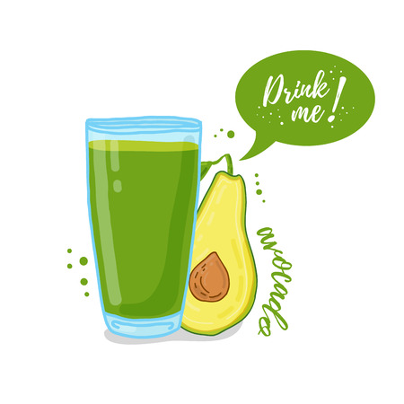 drink me: Design Template , poster, icons avocado smoothies. Illustration of avocado juice Drink me. Freshly squeezed fruit avocado juice for healthy life.