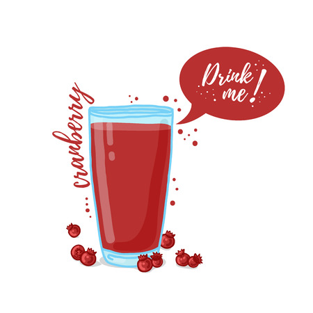 drink me: Design Template , poster, icons cranberry smoothies. Illustration of cranberry juice Drink me. Freshly squeezed berry cranberry juice for healthy life. illustration
