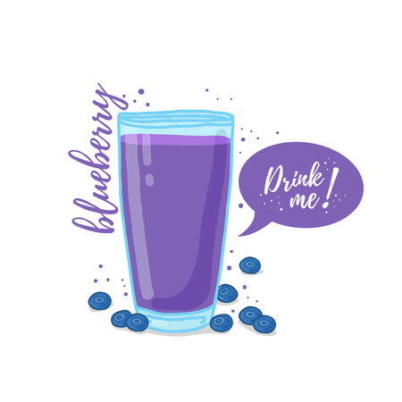 Design Template , poster, icons blueberries smoothies. Illustration of blueberries juice Drink me. Blueberries cocktail with berries. Illustration