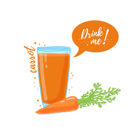 Design Template banner, poster, icons carrot smoothies. Illustration of carrot juice Drink me. Carrot fresh vegetable cocktail. Illustration