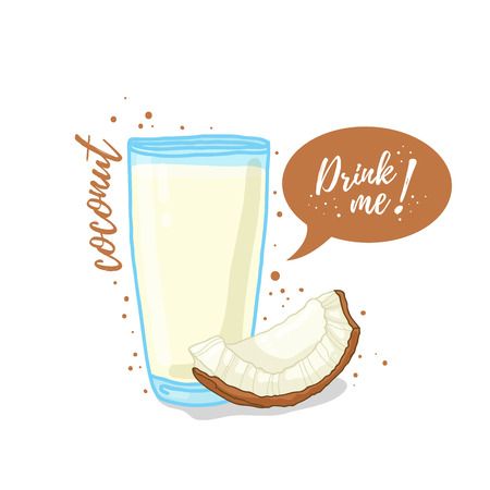 eat me: Design Template , poster, icons coconut smoothies. Illustration of coconut juice Drink me. Coconut milk in glass cup. illustration
