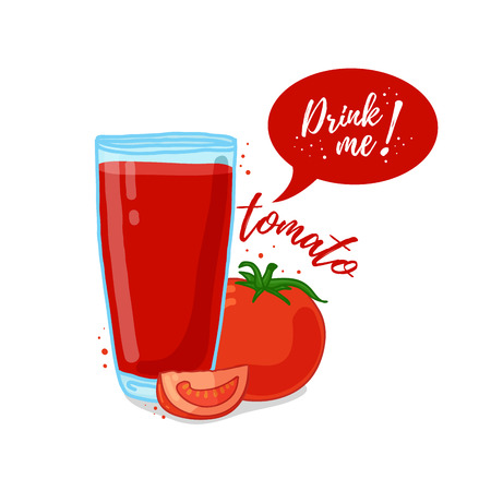 drink me: Design Template , poster, icons tomato smoothies. Illustration of tomato juice Drink me. Tomato fresh vegetable cocktail. illustration