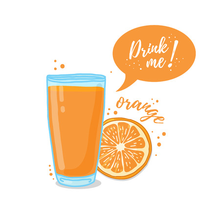 drink me: Design Template , poster, icons orange smoothies. Illustration of orange juice Drink me. Freshly squeezed orange juice for healthy life. illustration Illustration