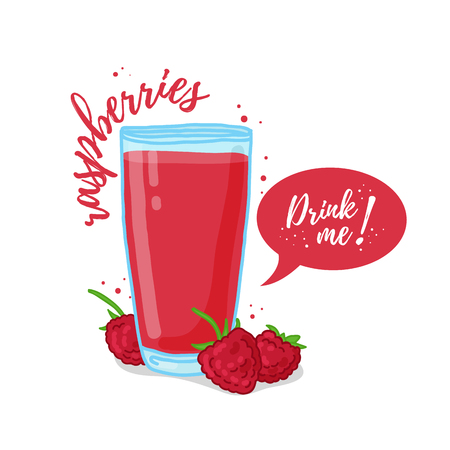 eat me: Design Template , poster, icons raspberries smoothies. Illustration of raspberries juice Drink me. Raspberries fresh berry cocktail. illustration