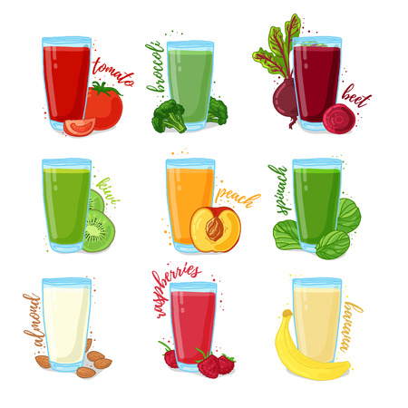 Set juices from fruits, herb, nut and vegetables. Collection of illustrations of drinks for a healthy diet. Juice from the berries, fruits and vegetables for vegetarians. Doodle cute style.