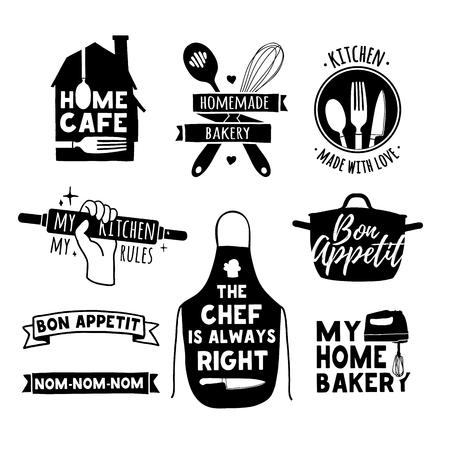 Set di epoca badge retrò, etichette ed elementi, simboli retrò per Panificio, club cucina, caffè, alimentazione studio o cucina casalinga. Template con silhouette posate. Vettoriali