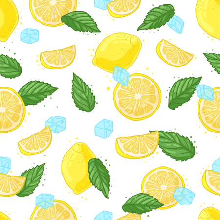 citric: Seamless pattern with decoration of fresh lemons, lemon slices, ice and mint. The background to the Ingredients for summer lemonade.