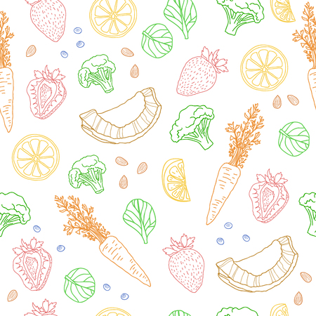 Seamless pattern with fruits, vegetables, nuts and herbs. vegetarian wallpaper. Background with eating a healthy diet. Black and white, outline, doodle style. illustration