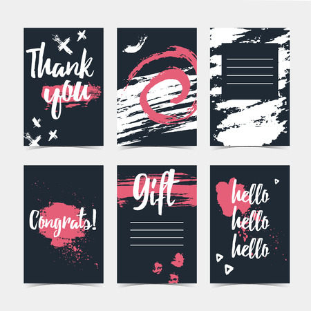 gently: Set of modern cards with the decor of abstract grunge spots. Invitations to the background of the ink spots. Universal vertical cards with template design for invitations, layout,  brochures