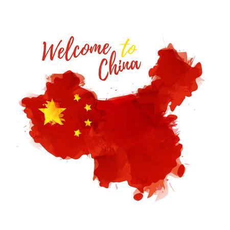 Symbool, poster, China. Kaart met de decoratie van de nationale vlag. Stijl aquarel tekening.